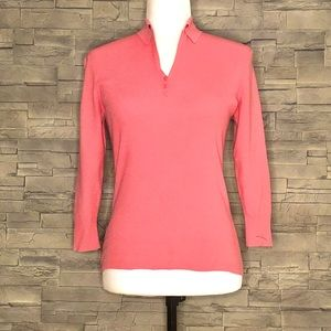 LOFT coral fine-knit collared top
